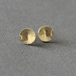 Gold Moon Stud Earrings