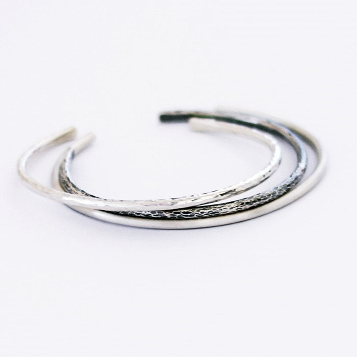 Three Timeless Sterling Silver Cuff Bracelet