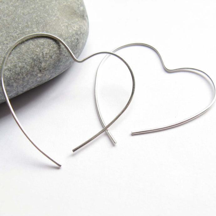 Open Heart Sterling Silver Hoop Earrings