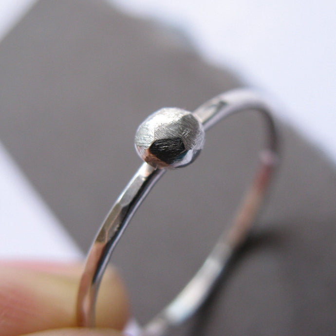 Tiny Rock Sterling Silver Ring