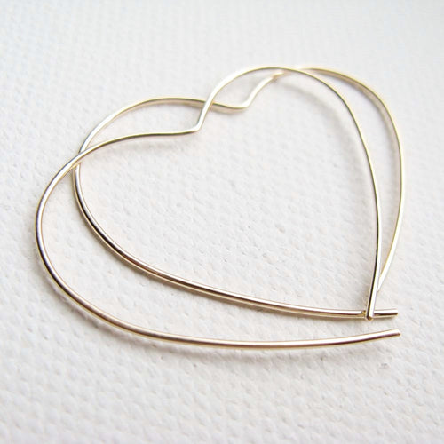 9ct Gold Open Heart Hoops