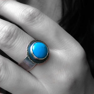 "Turquoise Sterling Silver Ring - ""Life"" OOAK"