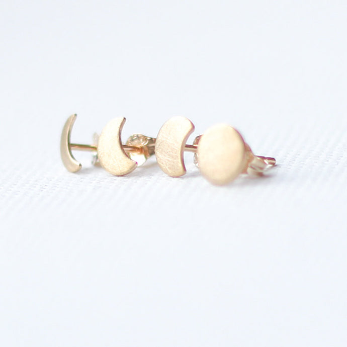 9ct Gold Moon Phase Studs