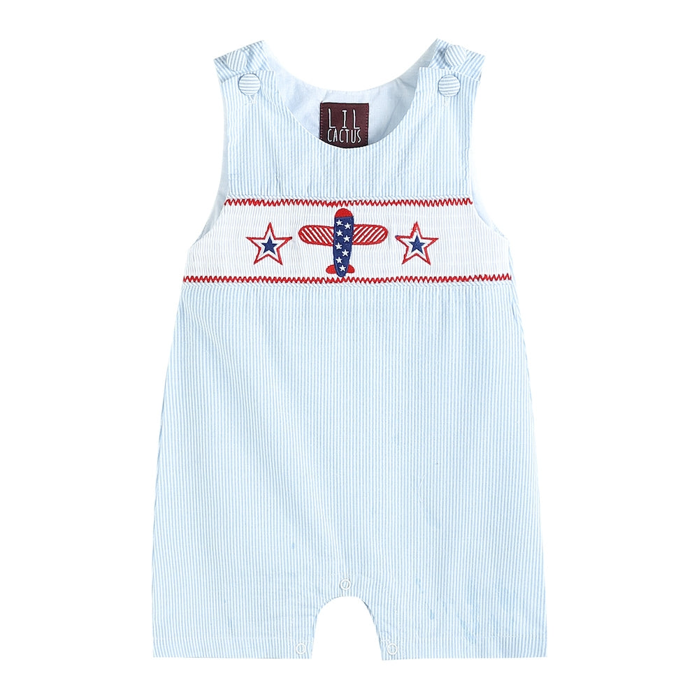 Light Blue Smocked Airplane Romper