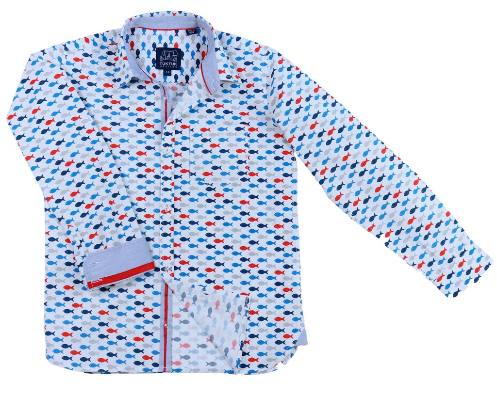 Red, White and Blue Fish Dress Shirt