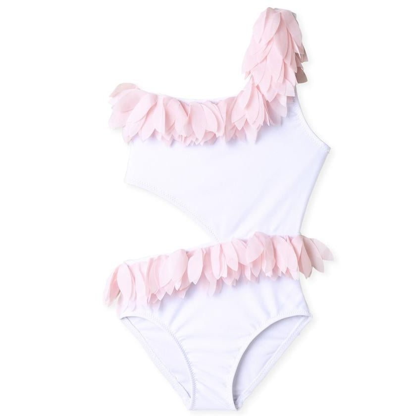 White Cut Out Swimsuit With Pink Petals