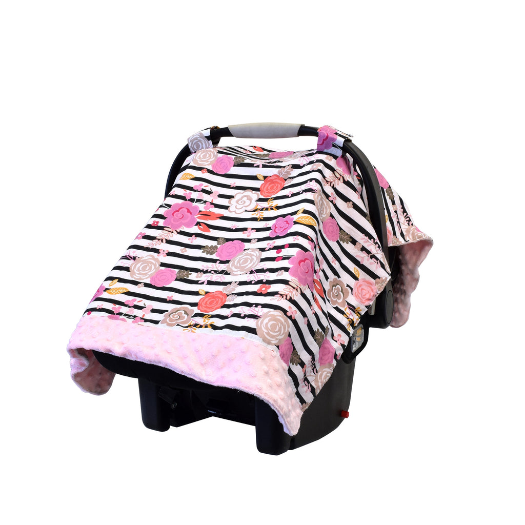 Floral Stripe Cozy Happens - Car Seat Canopy Cover