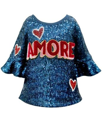 Amore Blue Sequins Top