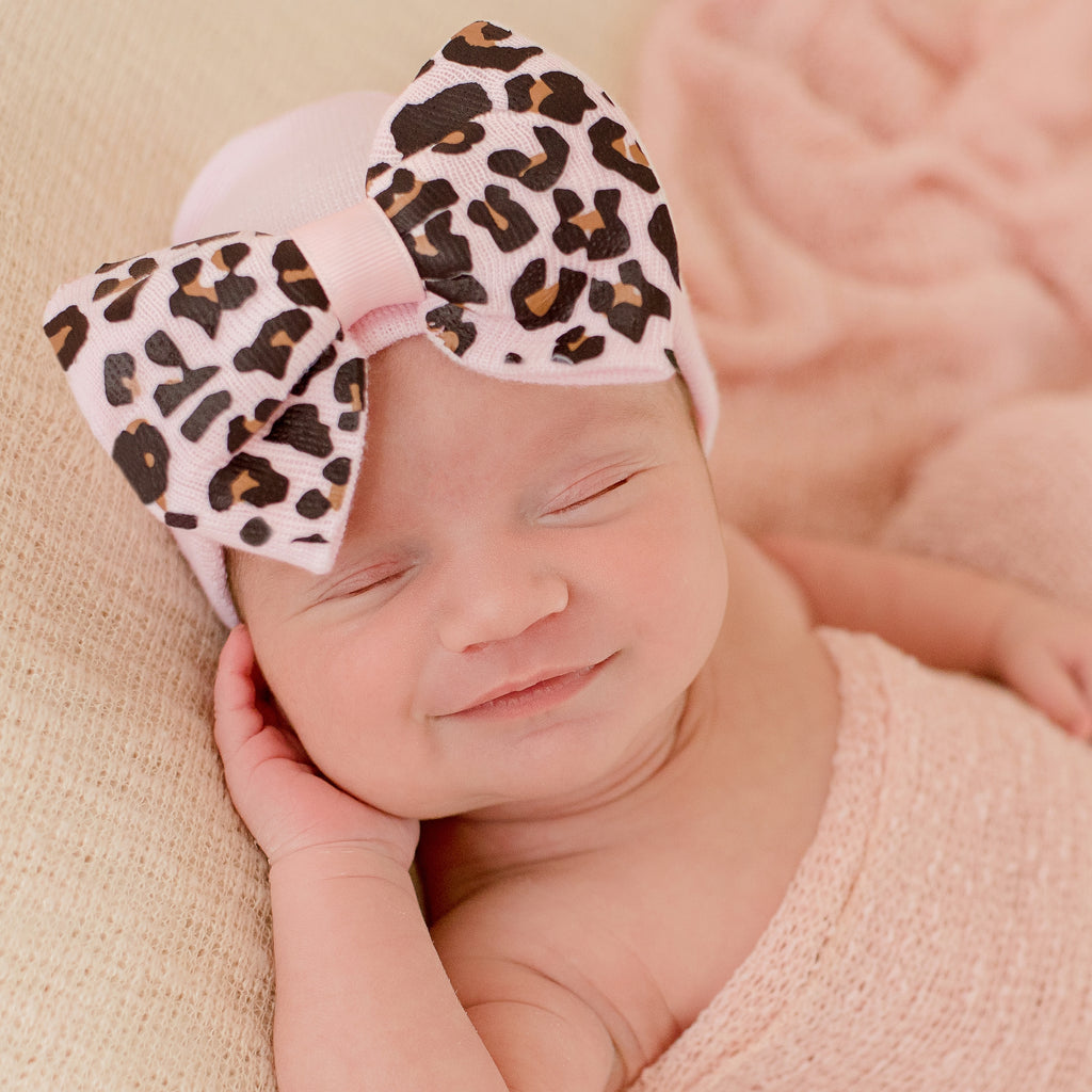 Pink Lucy Leopard Bow Baby Hospital Hat