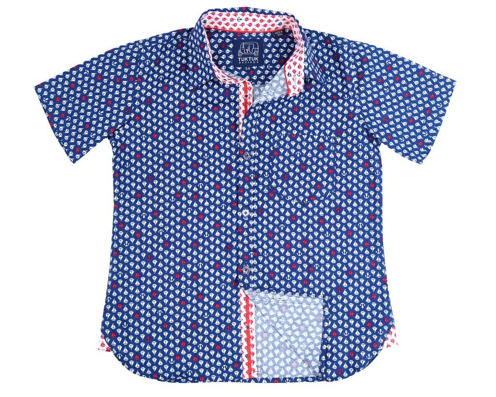 Navy Sailboats Dress Shirt
