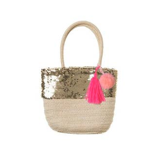 Sequin Pom Pom Purse