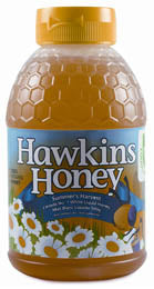 Hawkins Ontario liquid white honey in plastic squeeze bottle