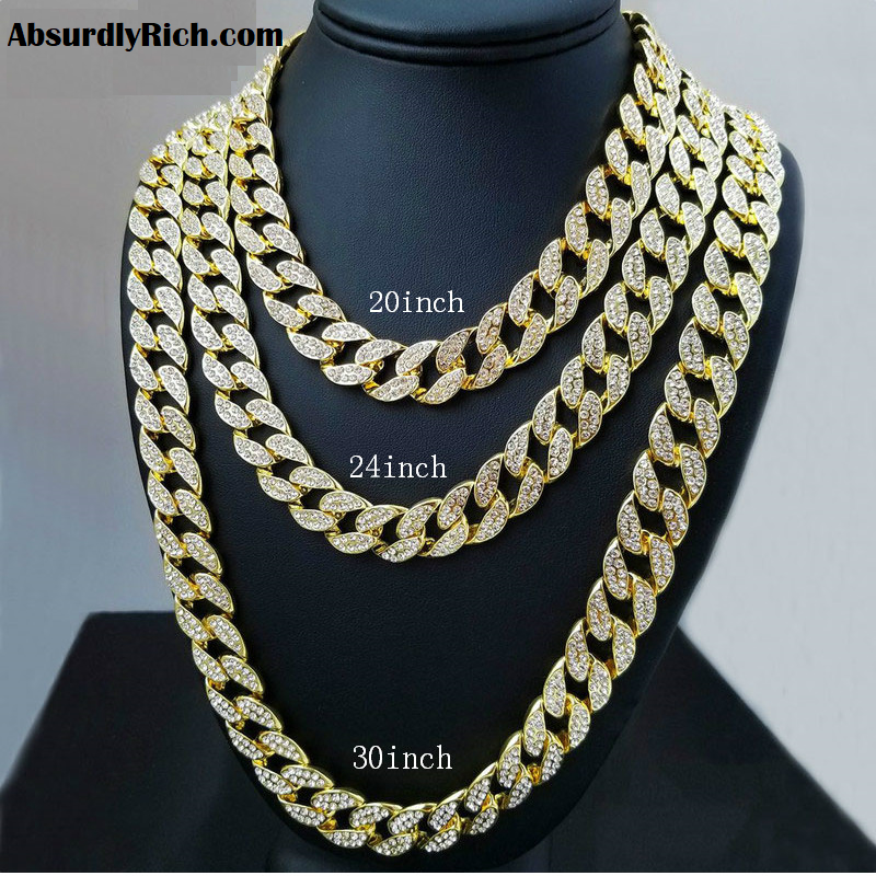 miami cuban link style iced out chains silver or gold and different