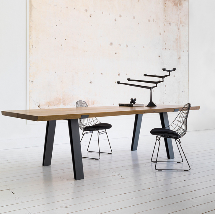 Industrial Solid Wood Dining Table