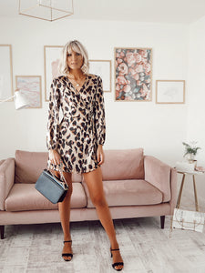 Leopard print wrap over long sleeve tea dress
