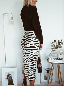 Zebra Print Satin Bias Midi Skirt