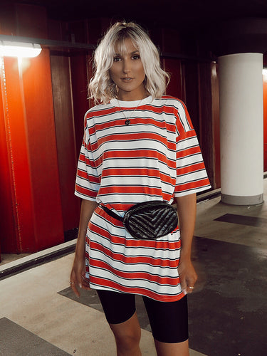 Red stripe oversized t-shirt dress