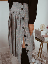 Grey Check Pleated Midi Skirt