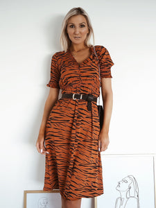 Rust tiger stripe midi dress
