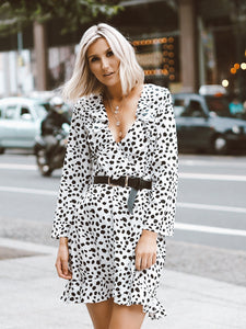 White Dalmatian Print Ruffle Wrap Mini Dress