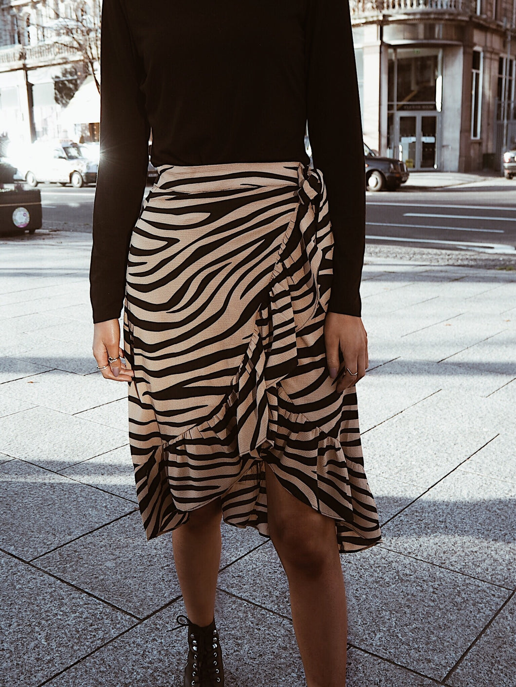 Tan Zebra Frill Wrap Midi Skirt