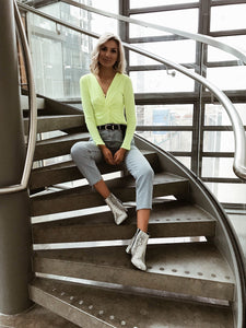 Neon Green Twist Front Bodysuit