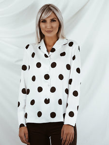 Oversized polka dot shirt