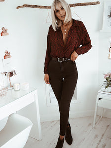 Wine snake print oversized shirt