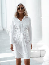 White stripe shirt dress