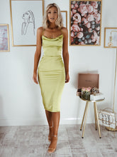 Lime Cowl Neck Satin Midi Dress