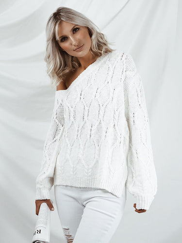 Drop shoulder cable knit jumper