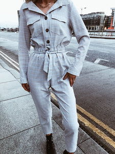 Grey Check Boiler Style Jumpsuit