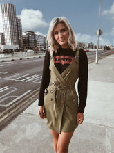 Khaki Wrapover Pinafore Dress