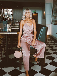 Rose Pink Satin Desire Jumpsuit