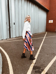 Satin Stripe Midi Skirt