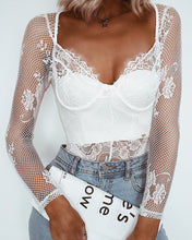 Lace square neck bodysuit