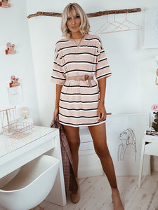 Pink stripe oversized t-shirt dress