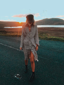 Leopard print long shirt dress