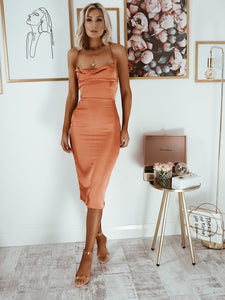 Rust Cowl Neck Satin Midi Dress