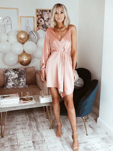 Pink Satin Asymmetric Dress