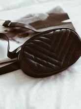 Black Chevron Quilted Bum Bag