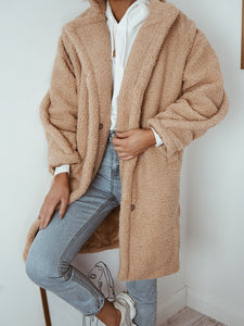 Camel oversized teddy coat