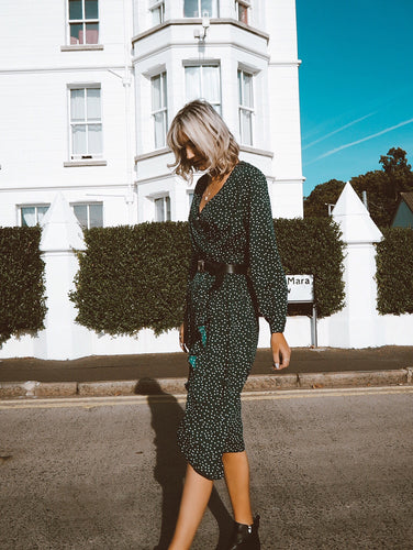 Green Polkadot Ruffle Wrap Midi Dress