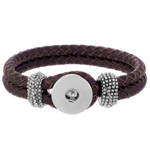 Leather Braided Button Bracelet