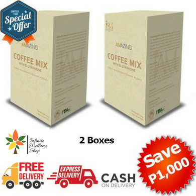 AMAZING WHITENING COFFEE WITH GLUTATHIONE 2 BOXES (20 SACHETS)