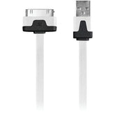 Iessentials Charge & Sync 30-pin Flat Cable, 3.3ft (white) (pack of 1 Ea)