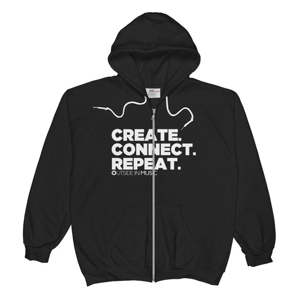 Official Create. Connect Repeat. Zip Hoodie