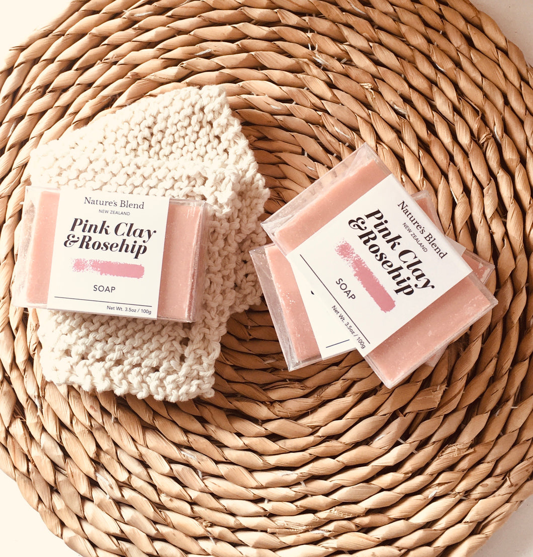 Nature's Blend Bar Soap Bar Pink Clay & Rosehip 100g
