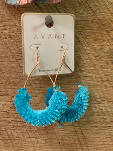 Blue fluffy earrings