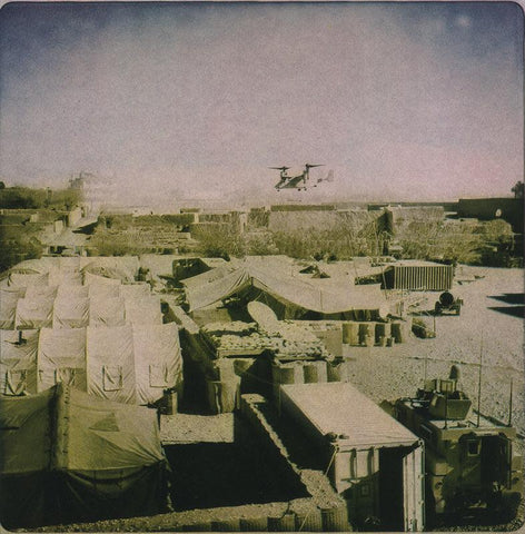 Helicopter above Musa Qala base, 2011